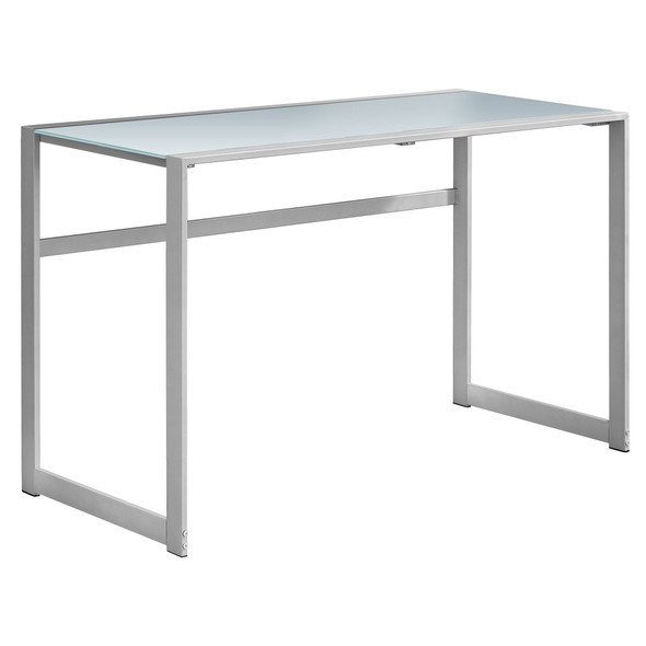 """22"""" x 48"""" x 30"""" Silver, White, Tempered Glass, Metal - Computer Desk"""