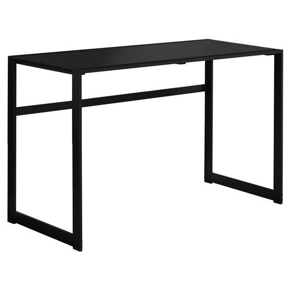 "22"" x 48"" x 30"" Black, Black, Tempered Glass, Metal - Computer Desk"