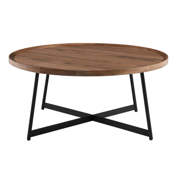 """35.44"""" X 35.44"""" X 15.75"""" Round Coffee Table in American Walnut and Black"""