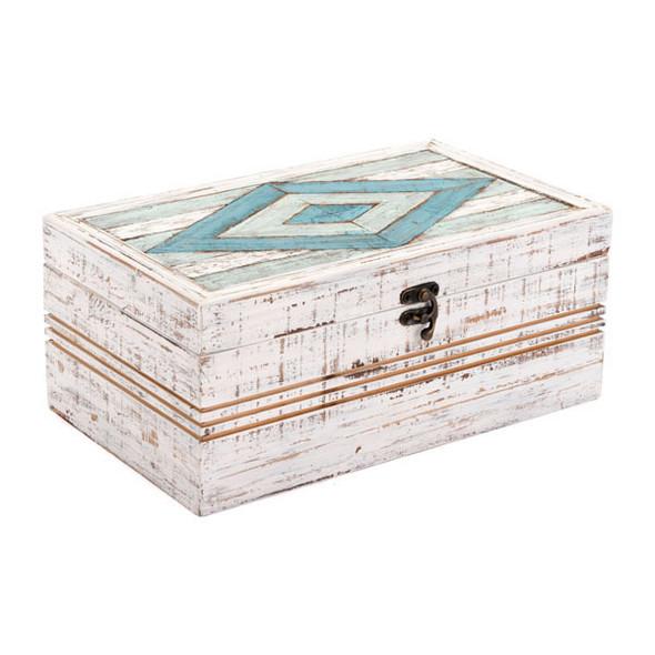 "12"" X 7.1"" X 5.1"" White Rectangular Wooden Box"