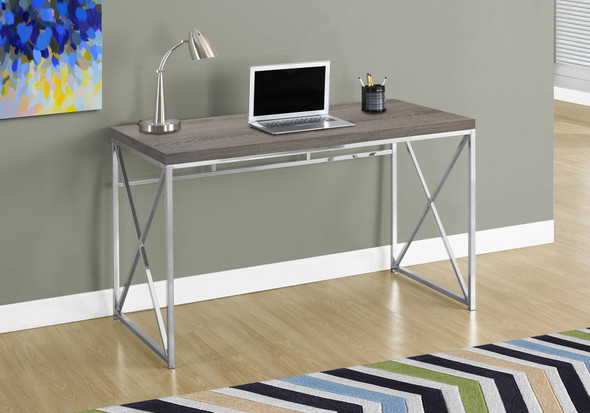 "29.75"" Dark Taupe Particle Board and Chrome Metal Computer Desk"