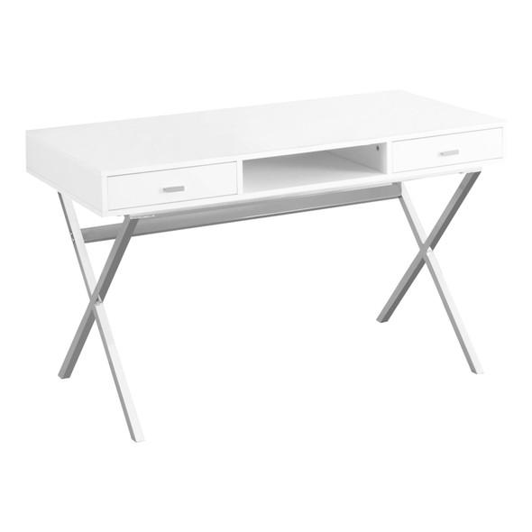 "23'.75"" x 47'.25"" x 29'.25"" White, Chrome, Particle Board, Metal - Computer Desk"