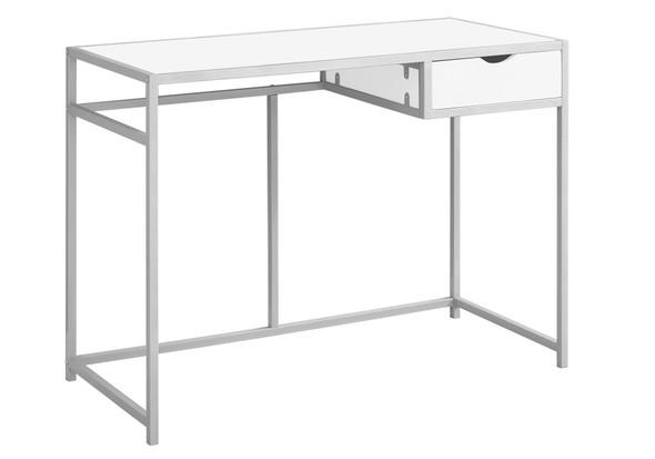 "20"" x 42'.25"" x 30"" White, Silver, Mdf, Metal - Computer Desk"