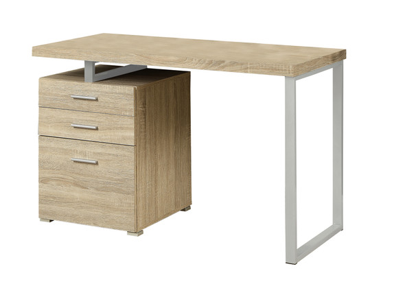 """23'.75"""" x 47'.25"""" x 30"""" Natural, Silver, Particle Board, Hollow-Core, Metal, - Computer Desk"""
