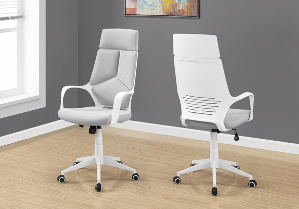 "45.75"" Foam, White Polypropylene, MDF, and Metal High Back Office Chair"