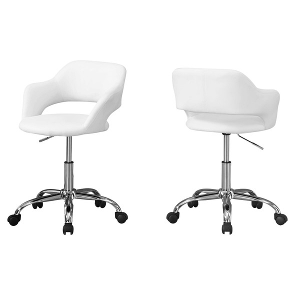 """21"""" x 22'.5"""" x 29"""" White, Foam, Metal, Leather-Look, Lift Base - Office Chair"""