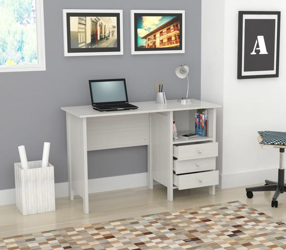 "29.7"" White Melamine and Engineered Wood Computer Desk"