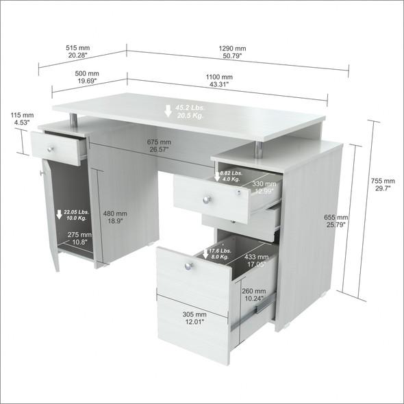 "29.7"" White Melamine and Engineered Wood Computer Desk - 249795"