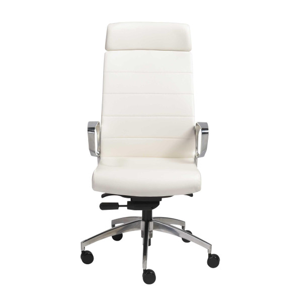 "22.45"" X 25.99"" X 48.43"" High Back Office Chair in White with Polished Aluminum Base"