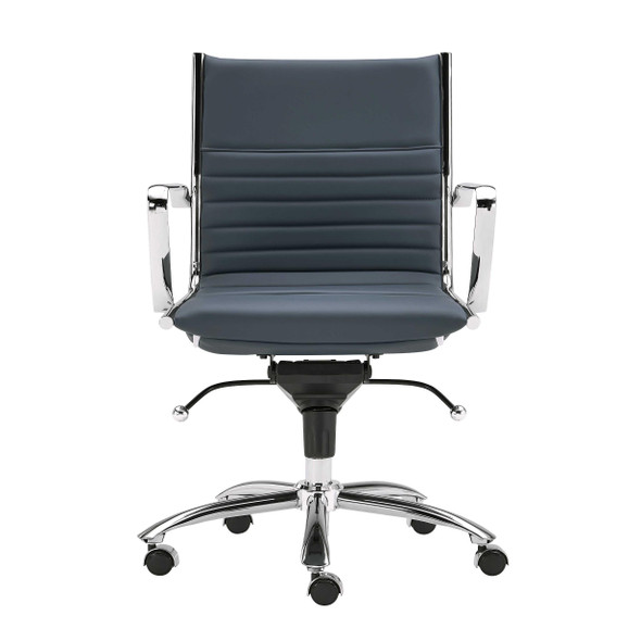 "27.01"" X 25.04"" X 38"" Low Back Office Chair in Blue with Chromed Steel Base"