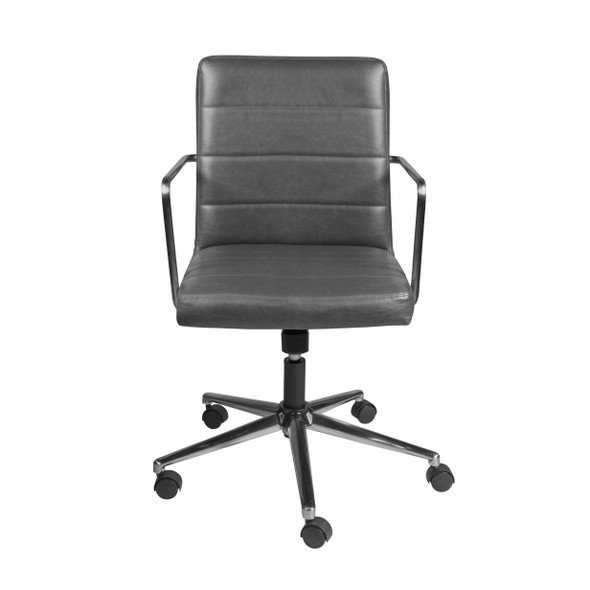 "25.20"" X 25.20"" X 35.83"" Low Back Office Chair in Gray with Brushed Nickel Base"