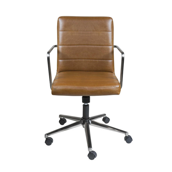 "25.20"" X 25.20"" X 35.83"" Low Back Office Chair in Brown with Brushed Nickel Base"