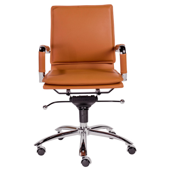 "25.99"" X 26.78"" X 38.39"" Low Back Office Chair in Cognac with Chrome Base"