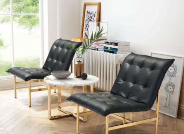 """24.4"""" X 31.5"""" X 29.5"""" Black And Gold Leatherette Chair"""