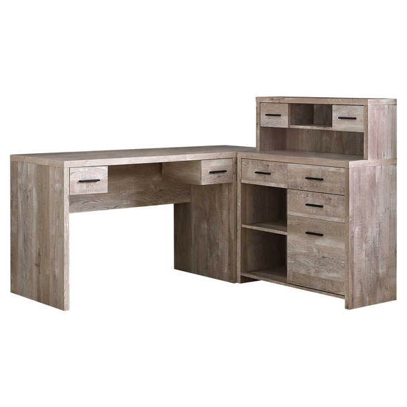 """59"""" x 62'.75"""" x 44'.75"""" Taupe, Particle Board, Hollow-Core - Computer Desk"""
