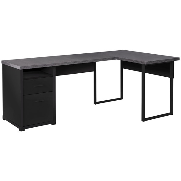 "47'.25"" x 78'.75"" x 30"" Black, Grey, Particle Board, Hollow-Core, Metal - Computer Desk"