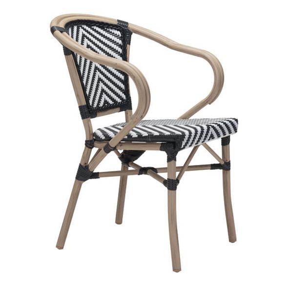"22"" X 22"" X 32.7"" 2 Pcs Black And White Polyethylene Dining Arm Chair"