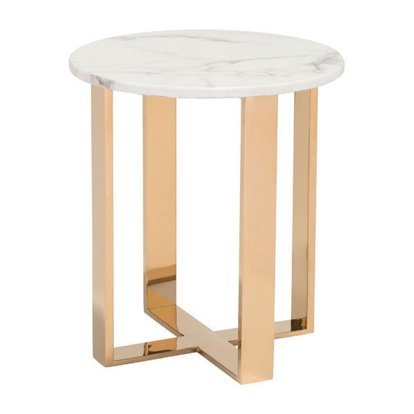 "18.1"" X 18.1"" X 20.5"" Stone And Gold Faux End Table"