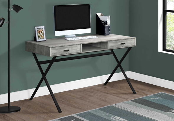 """29.25"""" Grey Reclaimed Wood Particle Board and Black Metal Computer Desk"""