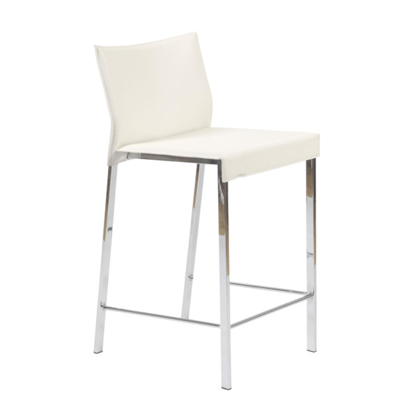 """17.33"""" X 18.51"""" X 33.86"""" White Leatherette Over Steel Frame Counter Stool with Chrome Legs"""
