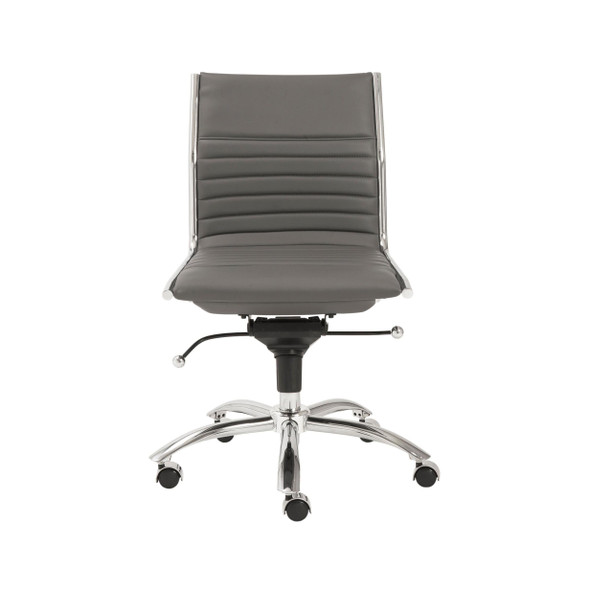 "26.38"" X 25.99"" X 38.19"" Low Back Office Chair without Armrests in Gray with Chromed Steel Base"