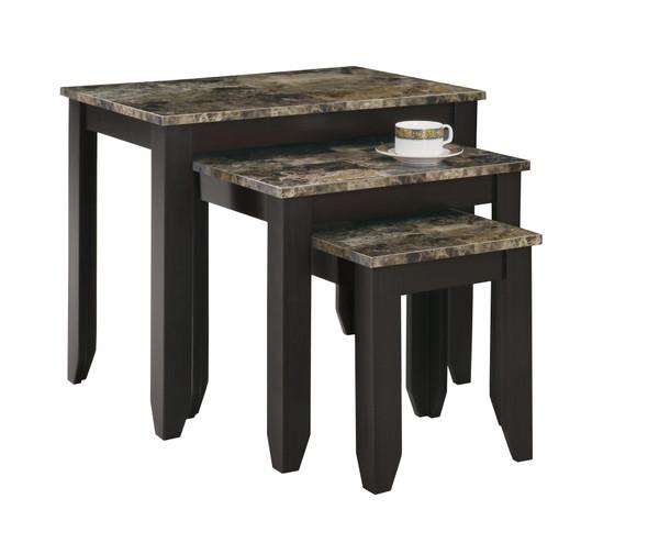 "41'.25"" x 56'.25"" x 51'.5"" Cappuccino, Particle Board - 3pcs Nesting Table Set"
