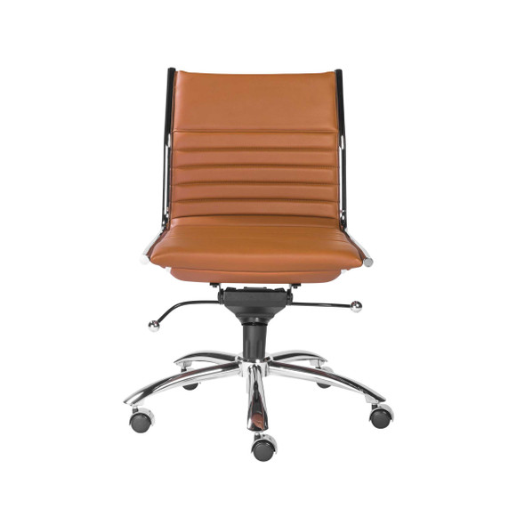 "26.38"" X 25.99"" X 38.19"" Armless Low Back Office Chair in Cognac with Chrome Base"