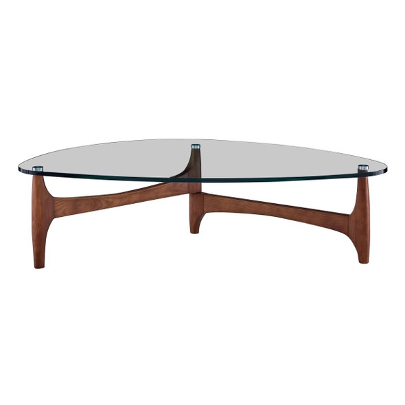 """52.37"""" X 31.5"""" X 13.78"""" Clear Tempered Glass Coffee Table with Walnut Base"""