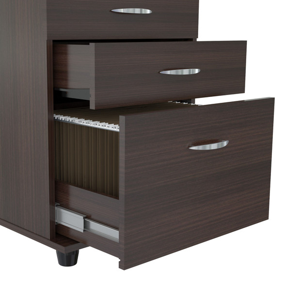 "26.8"" Espresso Melamine and Engineered Wood File Cabinet with 3 Drawers"