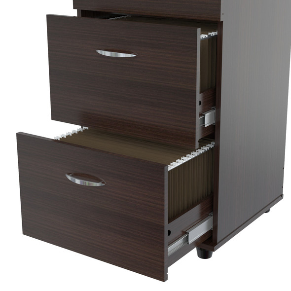 "52"" Espresso Melamine and Engineered Wood File Cabinet with 4 Drawers"