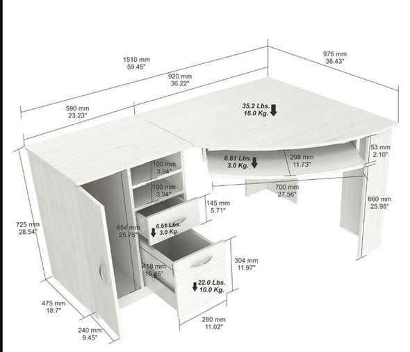 "28.5"" White Melamine and Engineered Wood Corner Computer Desk"