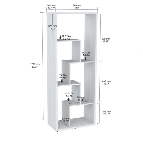"""68.2"""" White Melamine and Engineered Wood Bookcase"""