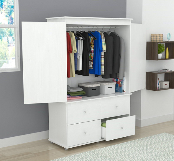 "70.9"" White Solid Composite Wood Dresser with 2 Doors and 4 Drawers"