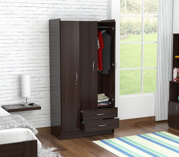 "71.2"" Espresso Melamine and Engineered Wood Wardrobe with 3 Doors"