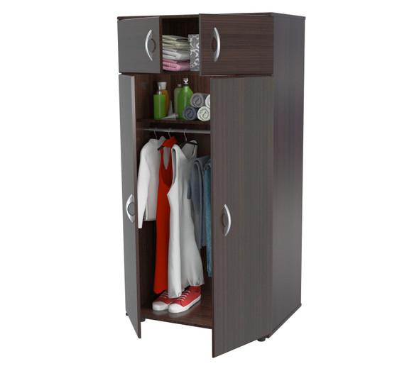 "63"" Espresso Melamine and Engineered Wood Wardrobe with 4 Doors"