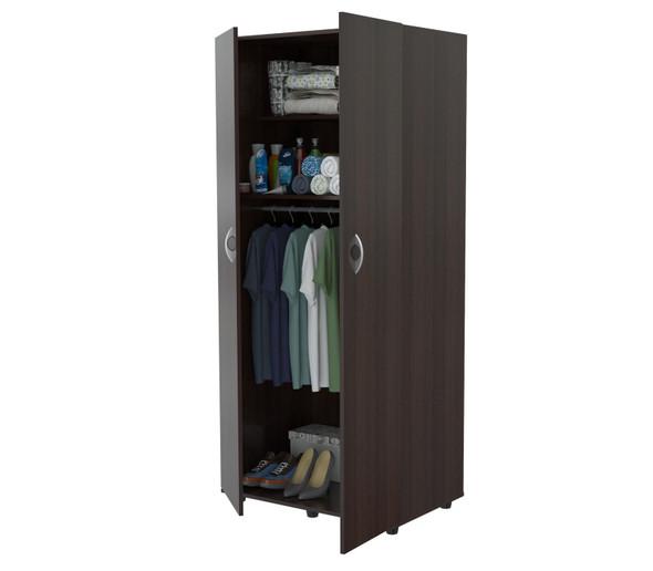 "70.9"" Espresso Melamine and Engineered Wood Wardrobe with 2 Doors"