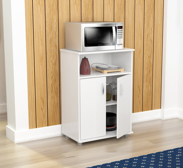 "34.7"" White Melamine and Engineered Wood Microwave Cabinet"
