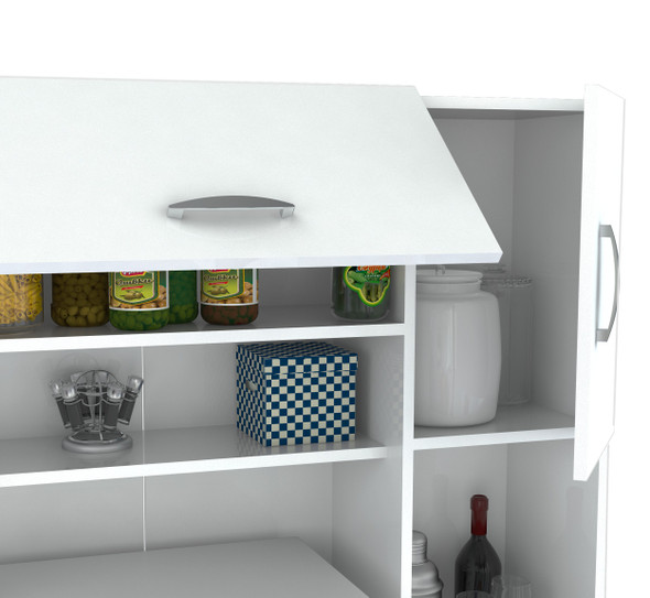 "66.1"" Contemporary White Melamine and Engineered Wood Kitchen Storage Cabinet"