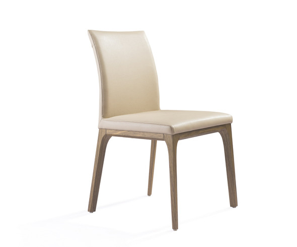 "20"" X 24"" X 35"" Taupe Faux Leather / Metal Dining Chair"