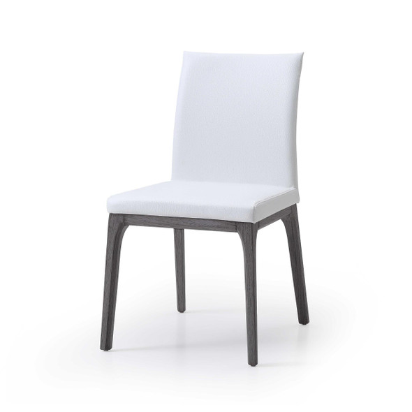 "20"" X 23"" X 35"" White Faux Leather / Metal Dining Chair"