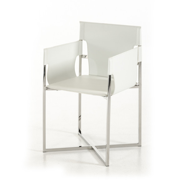 """34"""" White Eco-Leather and Stainless Steel Dining Chair"""