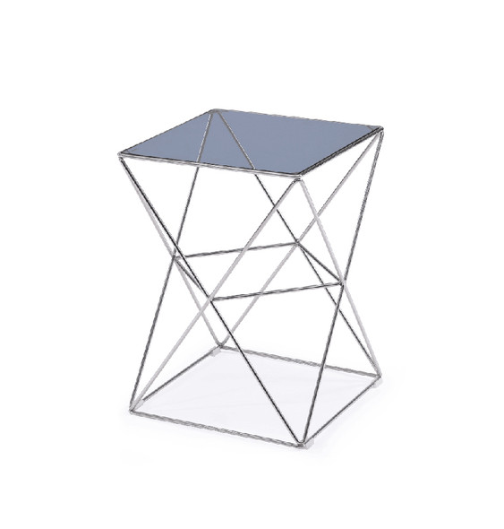 "22"" Glass and Stainless Steel End Table"