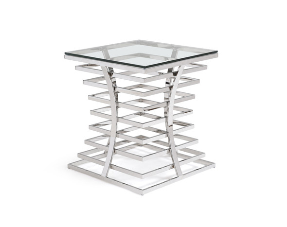 "22"" Glass and Stainless Steel Square End Table"