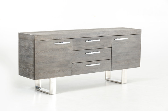 """34"""" Grey Veneer and Steel Buffet with 3 Drawers and 2 Doors"""