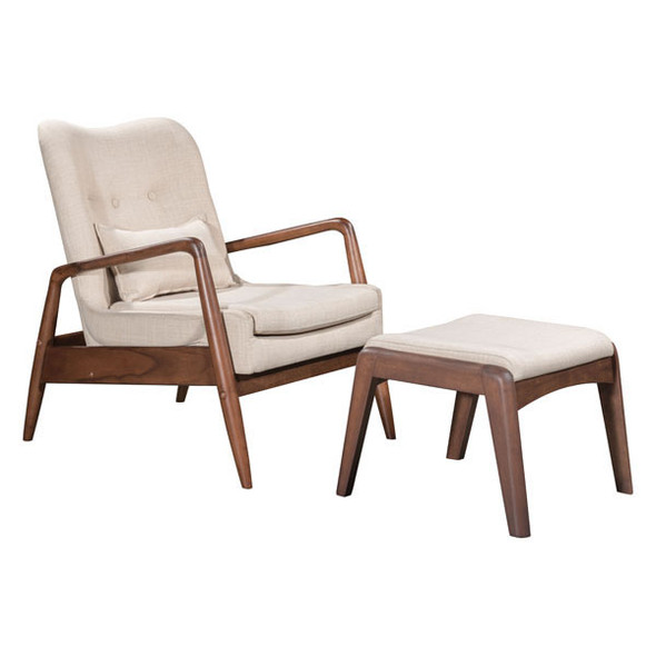 "30.3"" X 33.5"" X 32.7"" Beige Bully Lounge Chair And Ottoman"