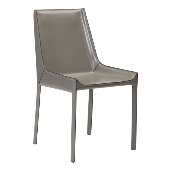 "18.9"" X 23.2"" X 35.4"" 2 Pcs Stone Gray Recycled Leather Dining Chair"