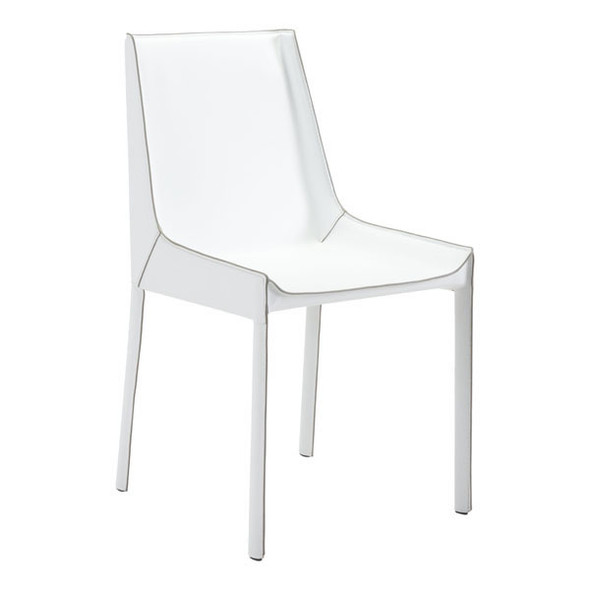 "18.9"" X 23.2"" X 35.4"" 2 Pcs White Recycled Leather Dining Chair"