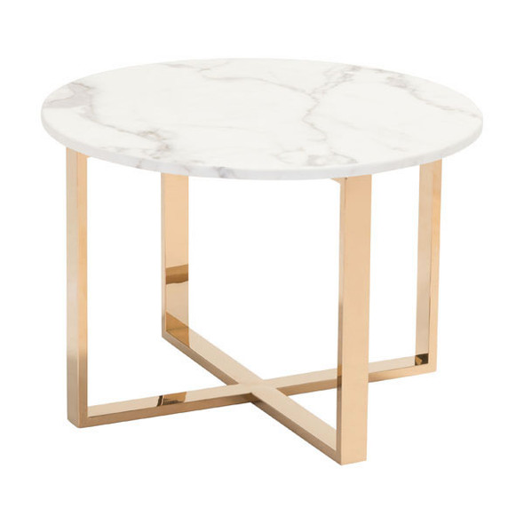 """24"""" X 24"""" X 16.9"""" Stone And Gold Faux End Table"""