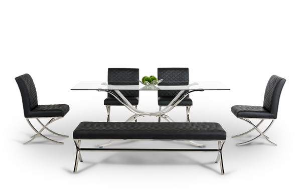 """30"""" Glass and Stainless Steel Dining Table"""