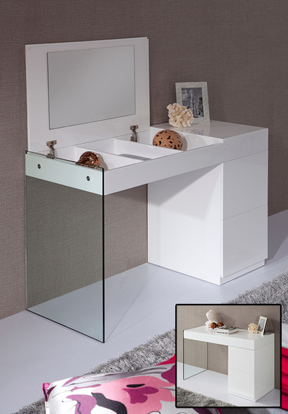"""27"""" White Glass Floating Vanity with a Mirror"""